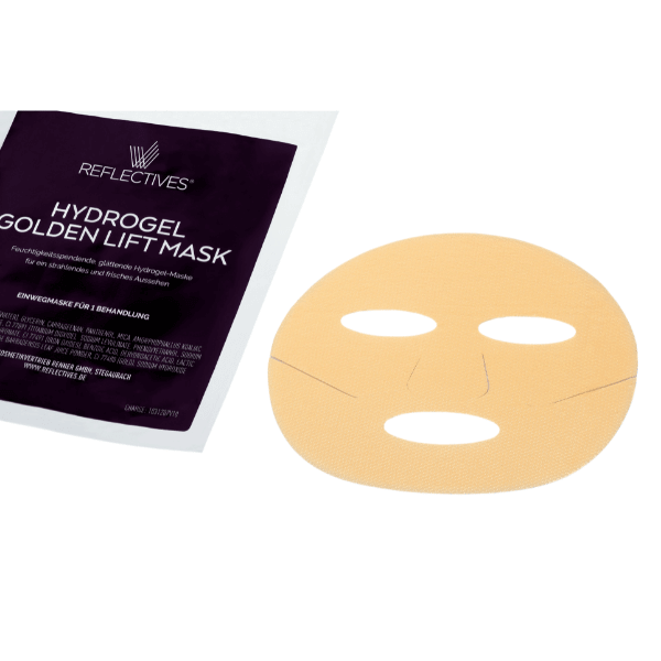 Hydrogel-Maske Golden Lift liegt neben der Verpackung.