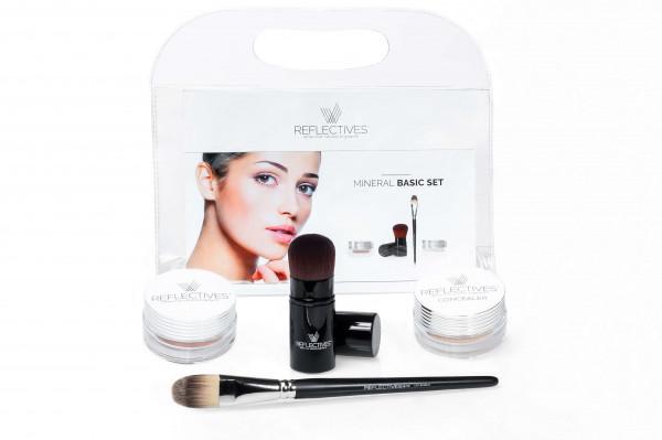 Mineral Make-up-Set (Basic) mit Foundation, Concealer und den zugehörigen Pinseln